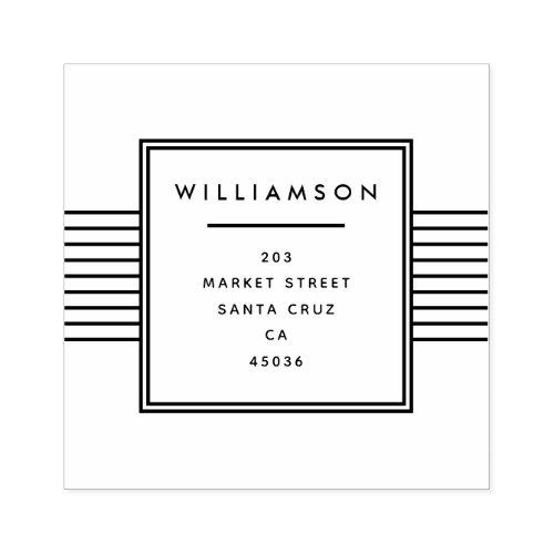Minimalist Typography  Family Name Return Address Rubber Stamp