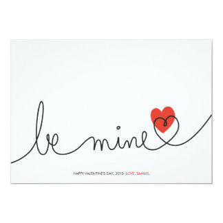 Minimalist Valentine Be Mine Modern Custom Card Custom Invites