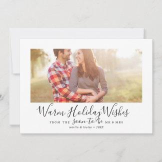 Minimalist Warm Holiday Wishes Engagement Photo