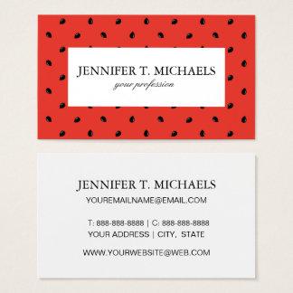 Minimalist Watermelon Seed Pattern Business Card