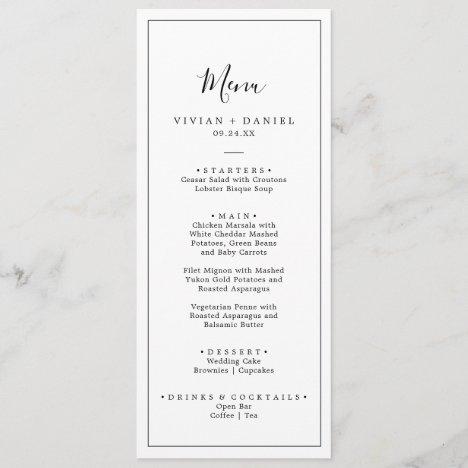 Minimalist Wedding Dinner Menu