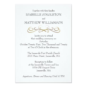Beach Themed Minimalist Wedding Invitation with Gold Flourish