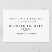 Minimalist Wedding Save The Date Elegant