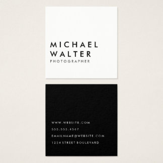 Minimalist White and Black Square Business Card