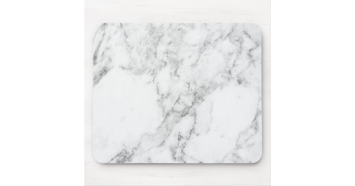 Minimalist White And Gray Marble Mouse Pad Zazzle Com