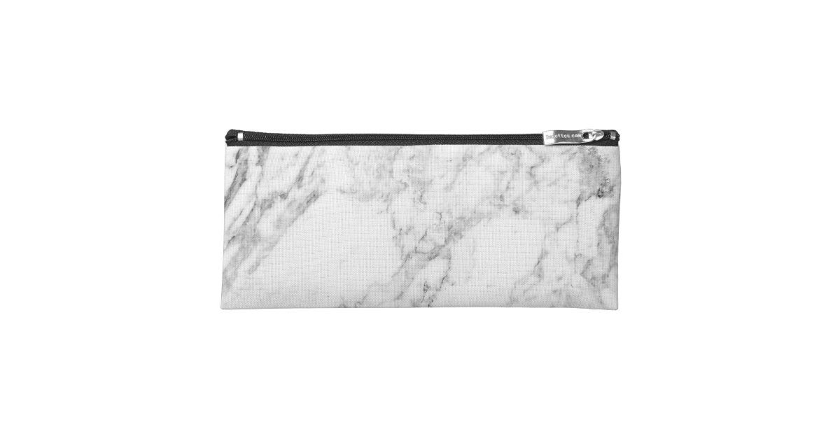 Minimalist White And Gray Marble Pencil Case Zazzle Com