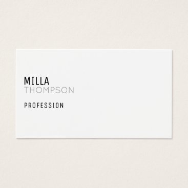 Professional Business minimalist white business card for any profession