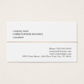 Minimalist White Faux Copper Line Consultant Business Card