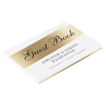 Minimalist White & Gold Brush Stroke Wedding Guest Book