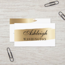 Minimalist White & Gold Brush Strokes Business Card