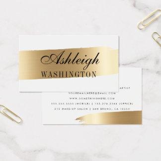 Minimalist White & Gold Brush Strokes Business Card