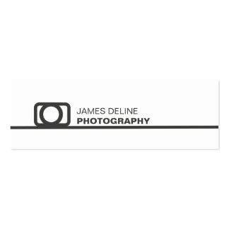 Minimalist White Grey Line Icon Photography Mini Business Card