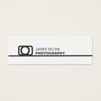 Minimalist White Grey Line Icon Photography Mini Business Card