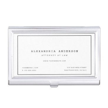 Minimalist White Lawyer Professional Card Case