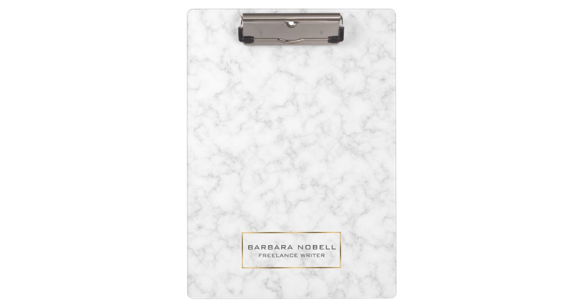 Minimalist White Marble Gold Frame Clipboard | Zazzle.com