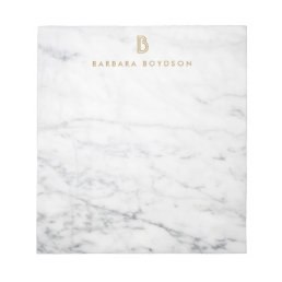 Minimalist White Marble Gold Monogram Notepad