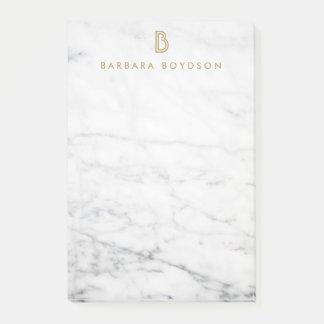 Minimalist White Marble Gold Monogram Post It Notes