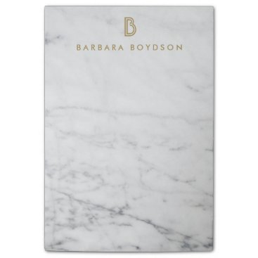 1201am Minimalist White Marble Gold Monogram Post-it Notes
