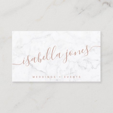 Minimalist white marble rose gold signature script business card