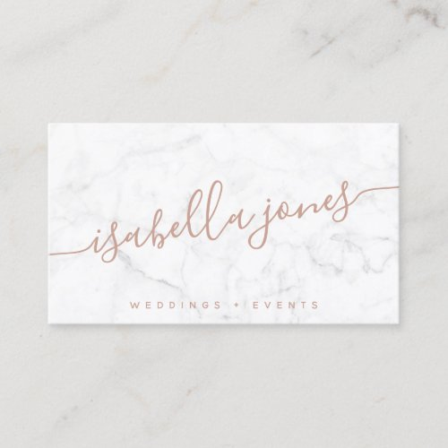 Minimalist white marble rose gold signature script business card