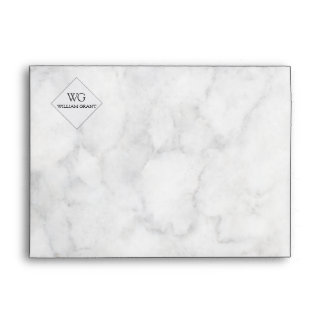 Minimalist   White Marble  Simple Monogram Logo Envelope