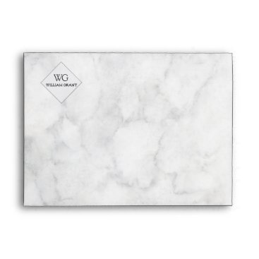 Professional Business Minimalist   White Marble  Simple Monogram Logo Envelope