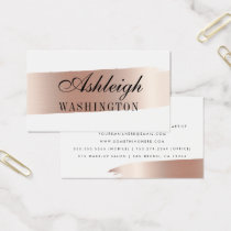 Minimalist White & Rose Gold Brush Strokes Business Card