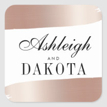 Minimalist White & Rose Gold Brush Strokes Wedding Square Sticker