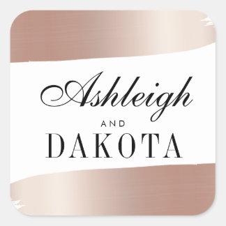 Minimalist White & Rose Gold Brush Strokes Wedding Square Sticker