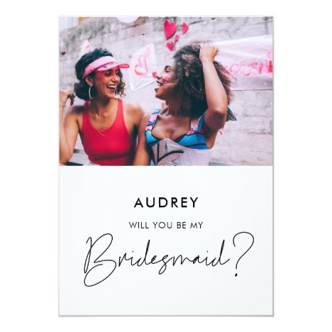 Minimalist Will you be my bridesmaid photo card