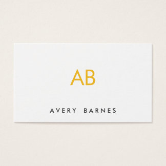 Minimalist Yellow Monogram Modern White Business Card