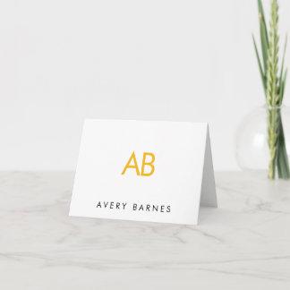 Minimalist Yellow Monogram Modern White Note Card