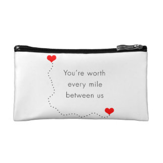 "minimalist ""you're worth every mile between us"" makeup bag"