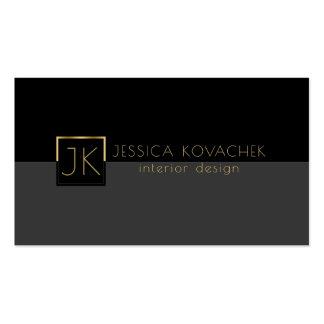 Minimalistic Black Gray & Interior Design Business Card