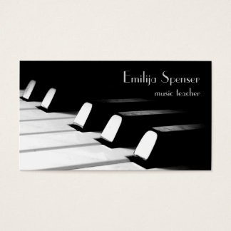 Minimalistic Black & White Piano Key Business Card