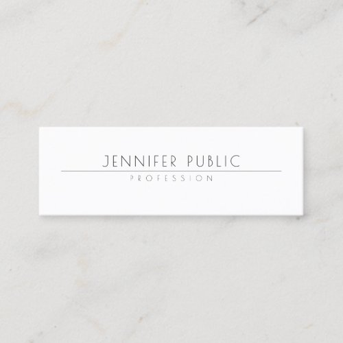 Minimalistic Elegant Design Modern Trendy Plain Mini Business Card