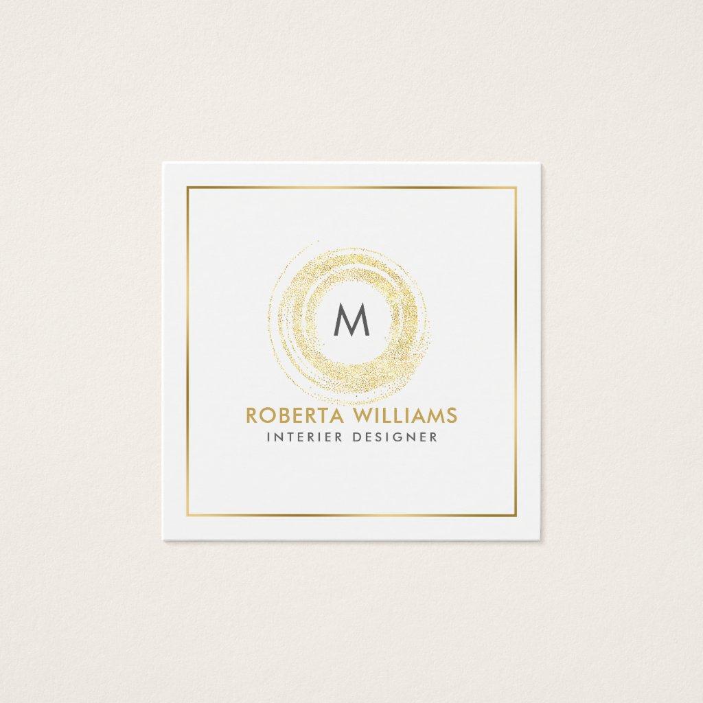 Minimalistic Elegant Gold Circle Monogram Square Business Card