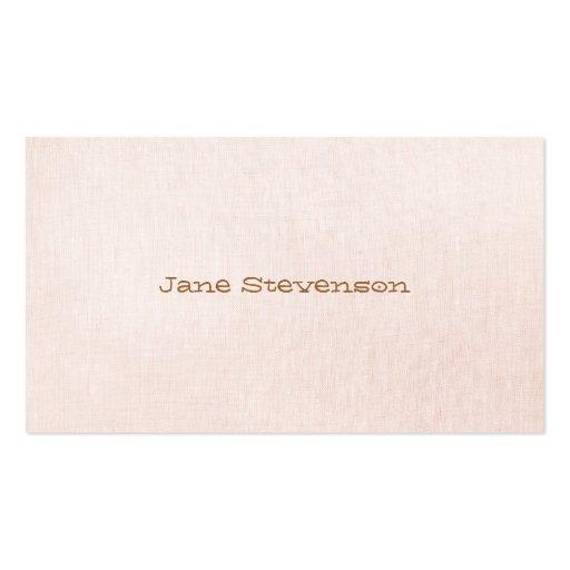 Minimalistic es mirada de lino rosa clara dulce tarjetas de visita