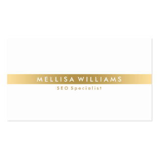 Minimalistic Gold Tine Stripe On White Business Card