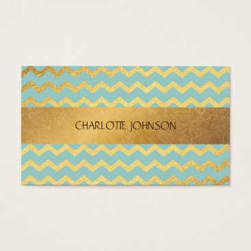 Professional Business Minimalistic Golden Blue Mint Vip Business Card