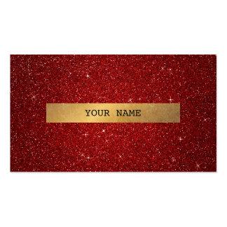 Minimalistic Golden Glitter Red Vip Business Card