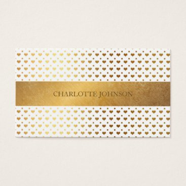 Professional Business Minimalistic Golden Hearts White Vip Business Card