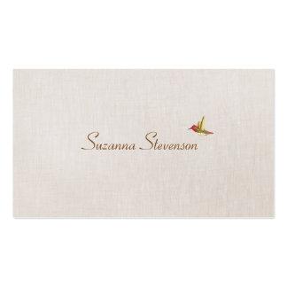 Minimalistic Hummingbird Linen Look Business Card Templates