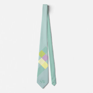 Minimalistic Light Blue Squares and Monogram Neck Tie