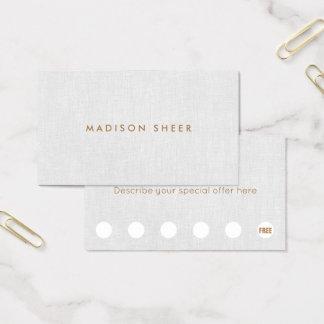 Minimalistic Light Gray Linen 6 Punch Loyalty Business Card