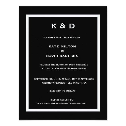 Minimalistic Modern Black-and-White Wedding 4.25x5.5 Paper Invitation Card