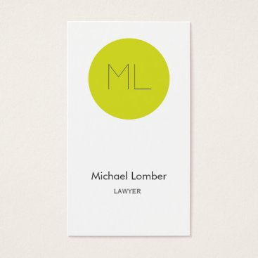 Professional Business Minimalistic modern Business Card lime circle
