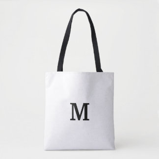 Minimalistic Monogram Black and White Tote Bags
