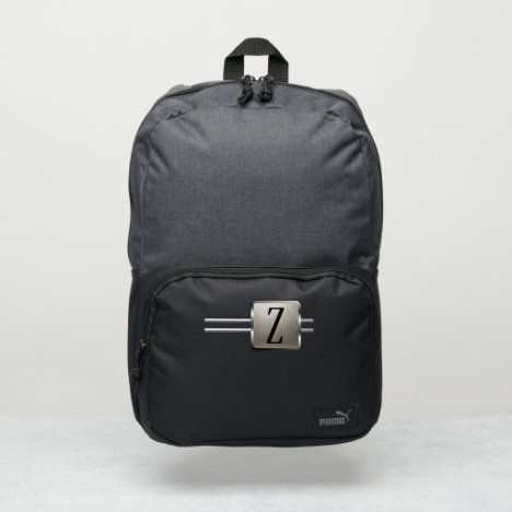 Minimalistic Monogram Name Gift Silver Metal Puma Backpack