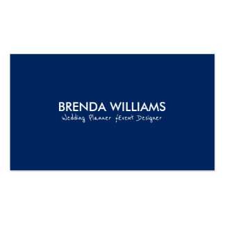 Minimalistic Navy Blue & White Reversible Business Card